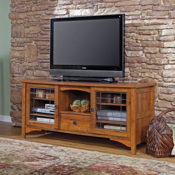 Loads Of Storage In This Mission Style TV Stand Credenza