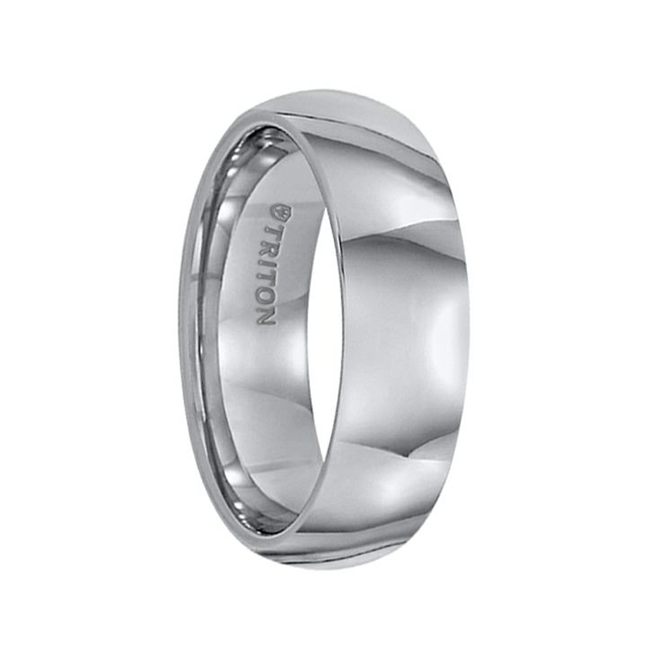 Triton Rings - FARRELL Domed Comfort Fit Tungsten Carbide Wedding Band with Polished Finish - 7 mm