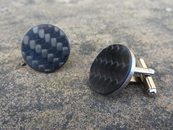 Carbon fiber silver and black cufflinks Auto racing by LedonGifts.  $22