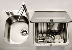 Incognito Dishwashers - This KitchenAid Briva Dishwasher is Embedded within the Sink (GALLERY)