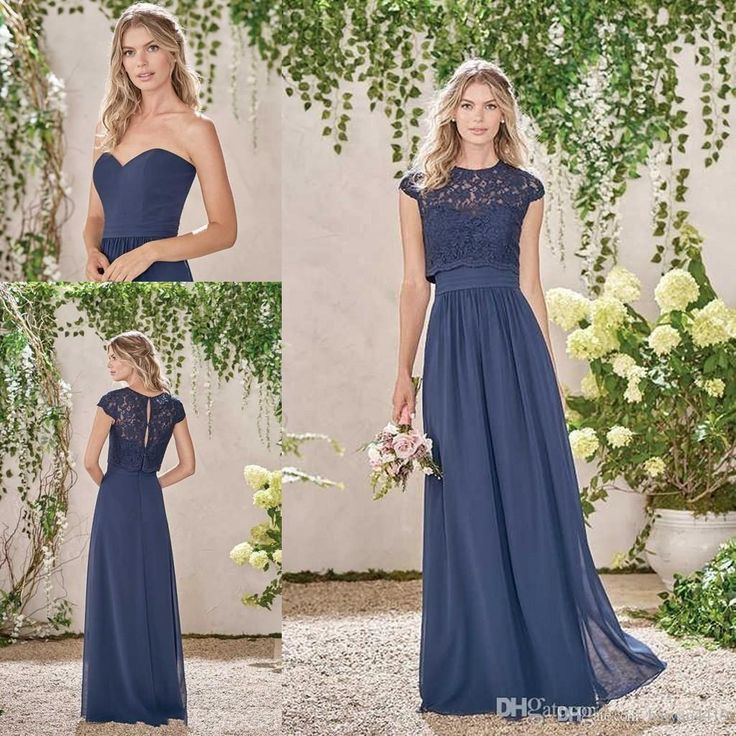 Navy Blue 2017 New Bridesmaid Dresses Y Long Chiffon Lace Summer Plus Size Wedding Party Maid Of Honor Gowns With Jacket