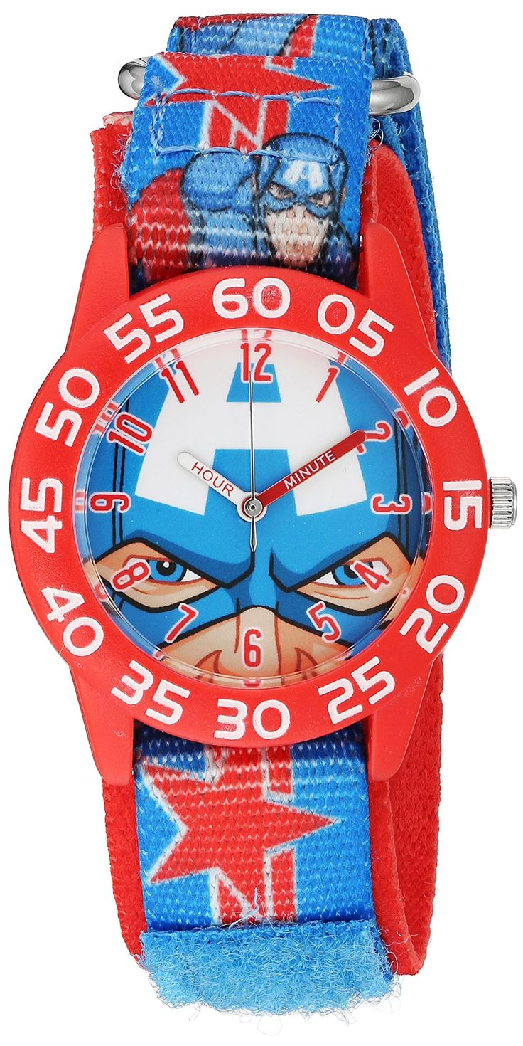 Marvel Boy's 'Captain America' Quartz Plastic and Nylon Automatic Watch, Color:Red (Model: W003257). Meets or exceeds all US Government requirements and regulations for Kid's watches. 1 year limited manufacturer's warranty. Analog-quartz Movement. Case Diameter: 32mm. Water Resistant To 30m (100ft): In General, Withstands Splashes or Brief Immersion In Water, but not Suitable for Swimming or Bathing.