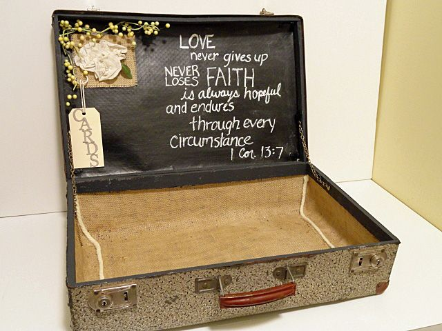 Another Gift Card Holder Using A Suitcase And Chalkboard Paint Something Borrowed Wedding Blogsomething