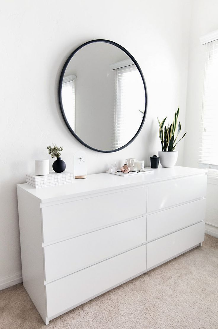 White dressers for guest bedrooms. Tv above