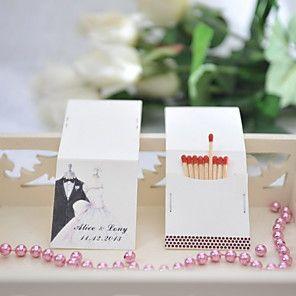 decoración de la boda cajas de fósforos personalizados - novia& novio (juego de 25)
