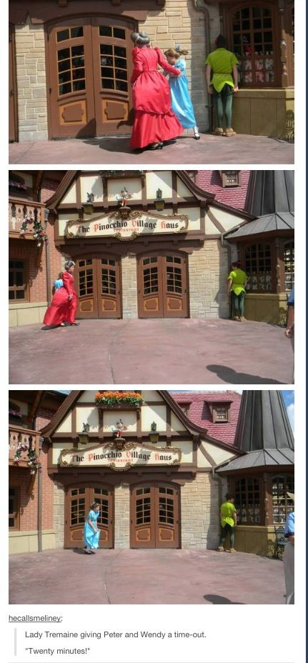 Lady Tremaine putting Peter Pan and Wendy in time-out ~ This is funny, but also mean. :( And she puts them in separate corners. I wonder what they did that made her do that...