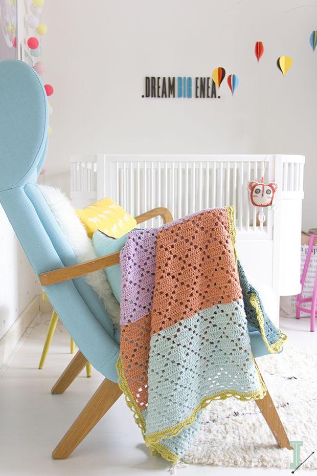 "IDA interior lifestyle: Filet baby blanket ""Barcelona"""