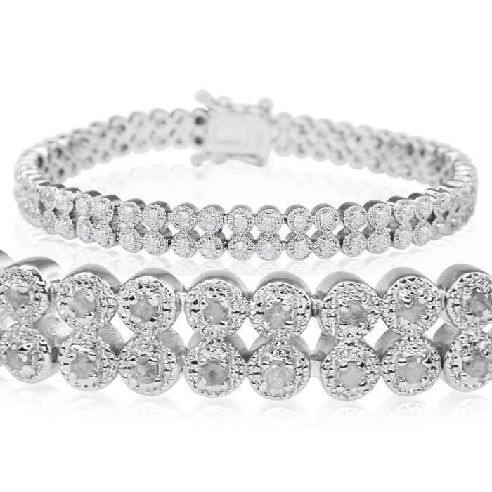 Tennis Bracelet Diamond Tennis Bracelet Fine Quality 1 Carat Diamond Bracelet Two Row Platinum Overlay Best Jewelry Deals Jewelry Bracelets Silver Sterling Silver Bracelets Jewelry