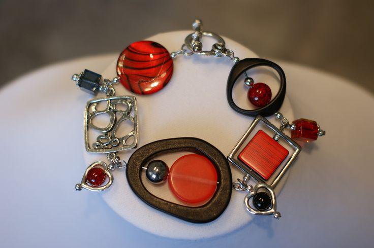 """""""Bracelet gourmette rouge"""", """"Bracelet rouge et noir"""", """"Bracelet unique"""" : Bracelet par bijouxlibellule"""