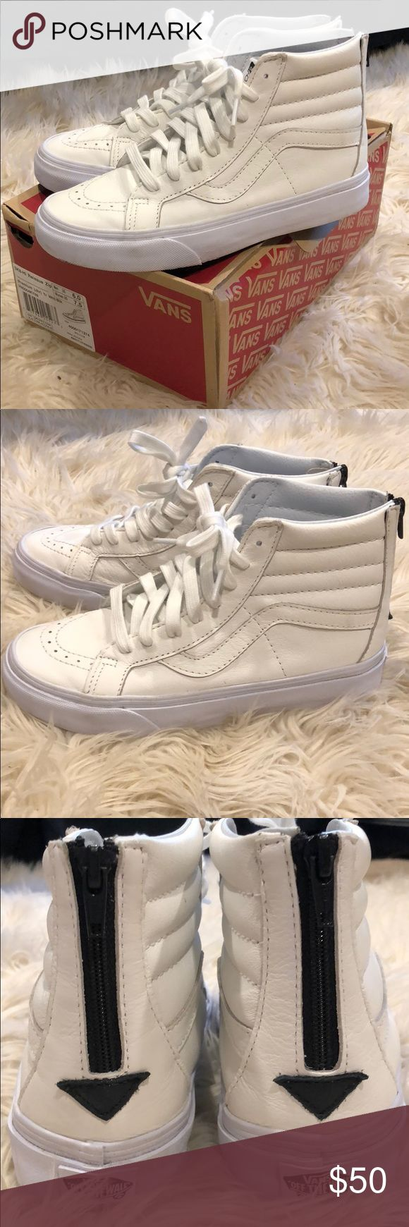 White Leather Vans Amazing condition white leather vans worn once! Size 7.5 fit true to size. Come with original box. Smoke free home. Open to offers! Vans Shoes Sneakers
