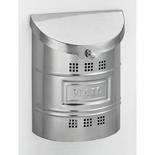 Polished Stainless Steel Large Mailbox With Steel Label Fuoriserie Wall Mounted Mailboxes