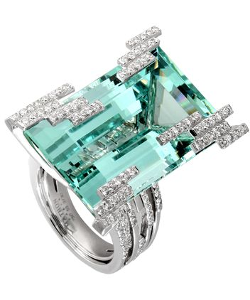 Bague Iceberg by Mathon Or blanc Diamants Béryl vert