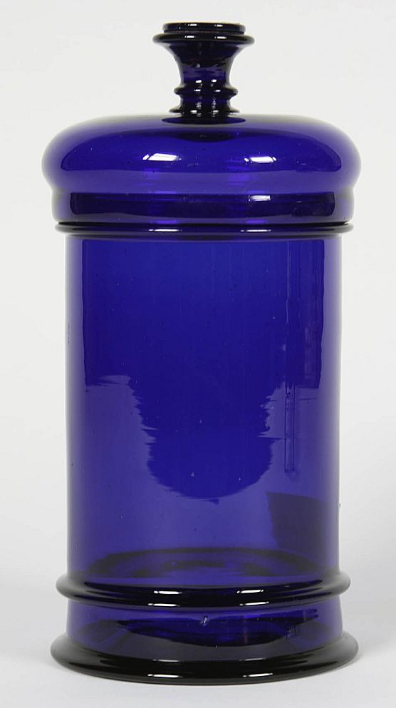 Rare 19th century French cobalt blown glass apothecary jar