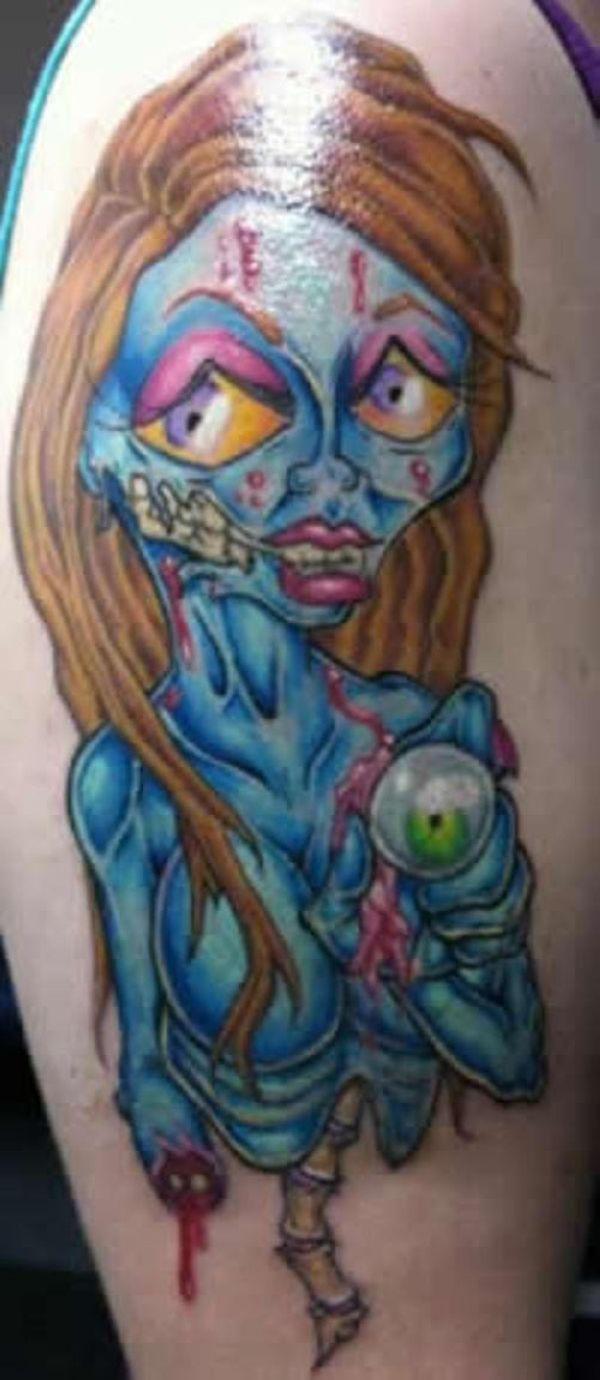 Cartoon Zombie Girl Tattoo 35 crazily bad tattoos - slodive