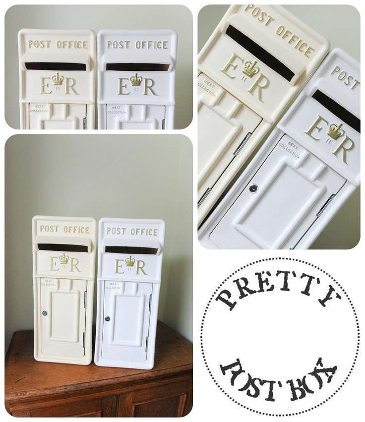 Our White And Cream Royal Mail Style Post Boxes With Gold Lettering
