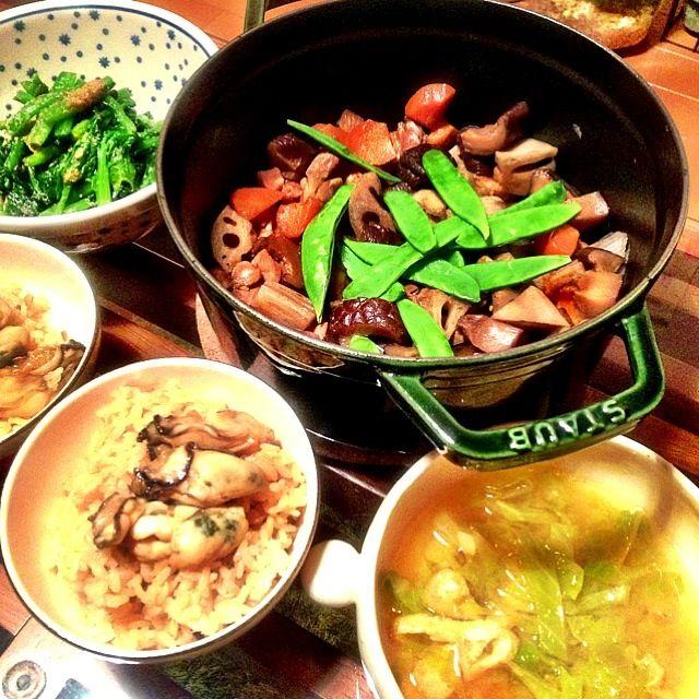 STAUB鍋でほっこり煮物♡ - 17件のもぐもぐ - 牡蠣ごはん、いり鶏、キャベツのお味噌汁、ほうれん草の胡麻和え by せりな