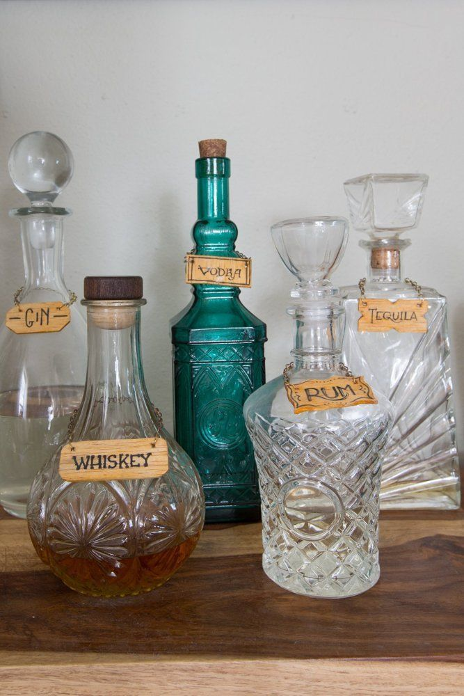 Liquor bottles on bar
