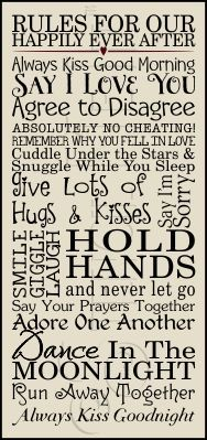 Wise rules for a happy marriage.