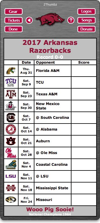 BACK OF WIDGET - 2017 Arkansas Razorbacks Football Schedule Dashboard Widget for Mac OS X - Wooo Pig Sooie! - National Champions 1964 Download yours at: http://2thumbzmac.com/teamPagesWidgets/Arkansas_Razorbacks.htm