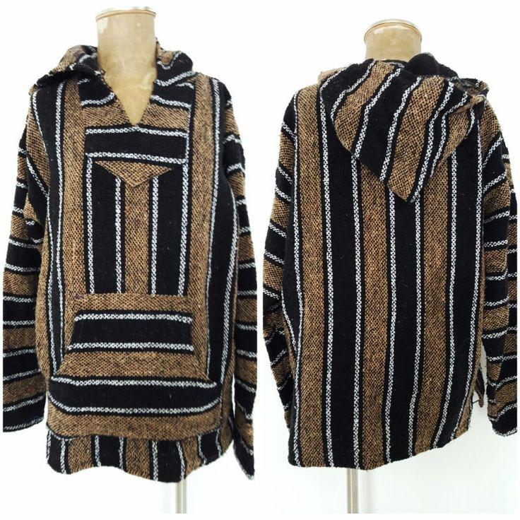 Baja Jacket Size Large Cotton Hoodie Poncho Serape Canyon Creek Brown Unisex #CanyonCreek #Poncho