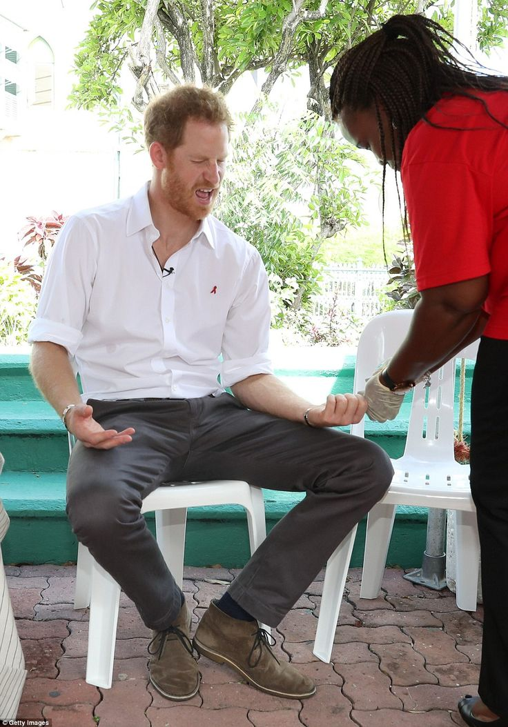 Prince Harry felt some pain when a sample of his blood was taken for the HIV test at Bridg...