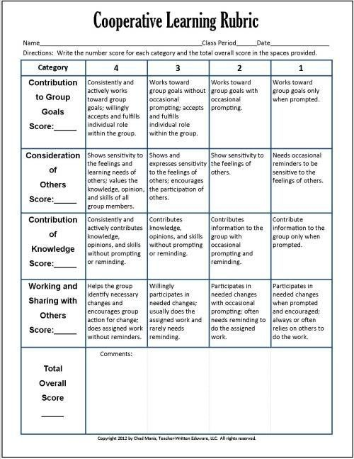 Cooperative Learning: This free PDF packet includes documents for self evaluation, peer evaluation, progress assessment, group checklist, two rubrics, and...
