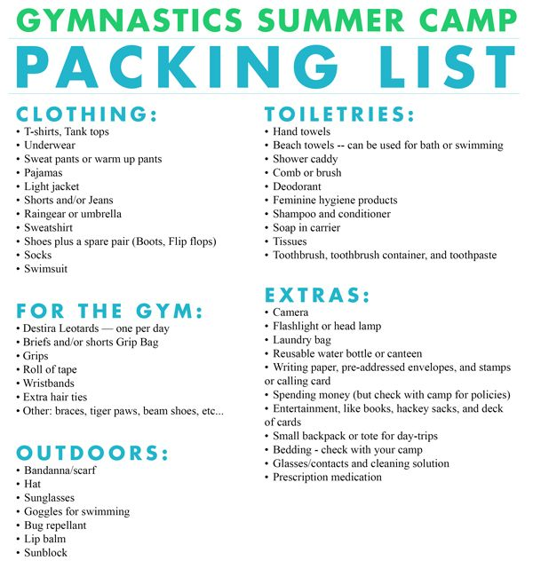 Gymnastics summer camp packing list