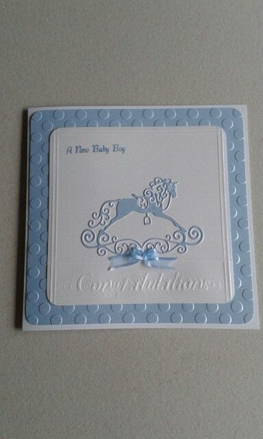 I created this Baby Boy card. It features a Tattered Lace rocking horse die which I cut from pearlescent card.