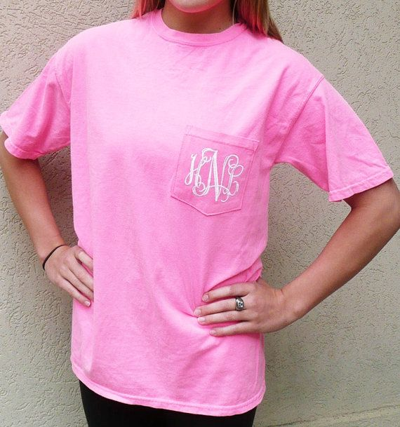 Comfort Colors T Shirt Personalized Pocket Monogrammed
