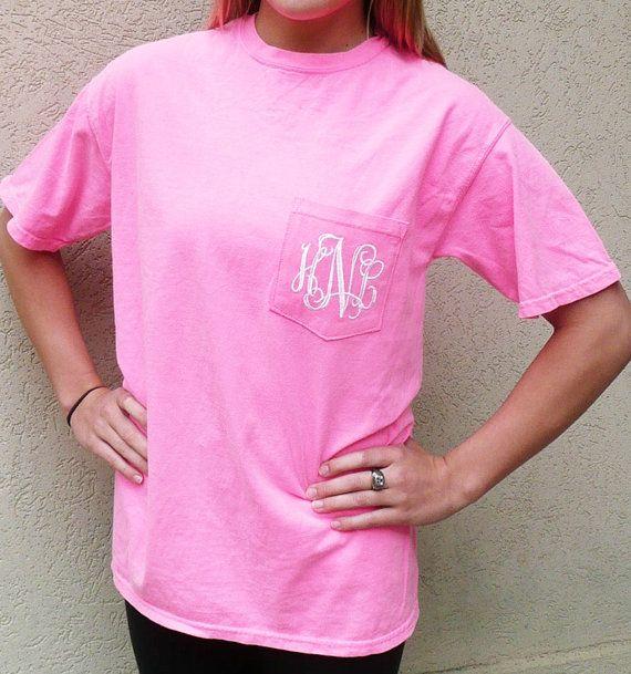 comfort colors t-shirt, personalized pocket t-shirt, monogrammed pocket t shirt on Etsy, $17.00