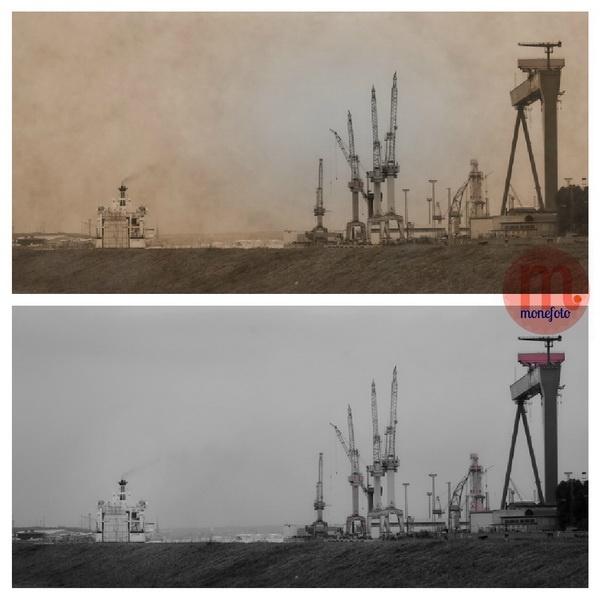 """Rostock - Die """"Skyline"""" vor Rostock. Blick von Warnemünde Hohe Düne die Warnow in Richtung Rostock rauf. Links die Fähre aus Trelleborg auf die Fahrt in den Rostock Port!"""