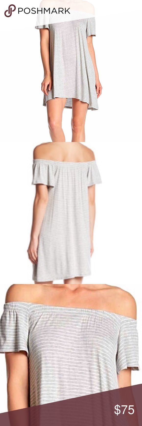 NWT!!! Vanity Room Gray Off The Shoulder Dress Adorable light summertime dress in light gray and white stripes . Dress is NWT Off the shoulders with elastic neck line. Wear to your favorite Festival. Dress it down with flip flops or dress it up with heels. All reasonable offers accepted 🛍🛍🛍 Vanity Room Dresses