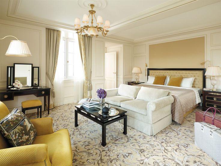 Shangri la Paris, France. #hotel #bed #room #chandelier #lamp #romantic #elegance #stylish #interior #lighting #design