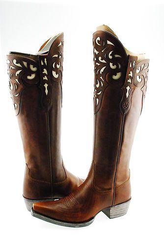 Ariat Hacienda Womens Cowboy Western Knee High Tall Shaft Boot Brown