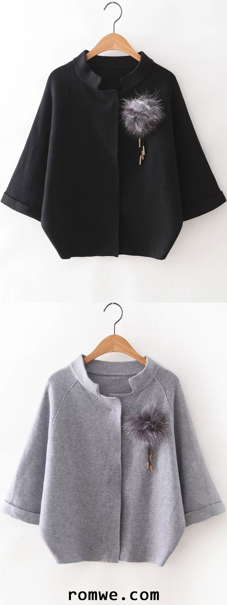 Black Raglan Sleeve Sweater Coat With Brooch -romwe.com