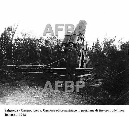 1918. Salgareda - Campodipietra. Obice austriaco puntato verso le linee italiane