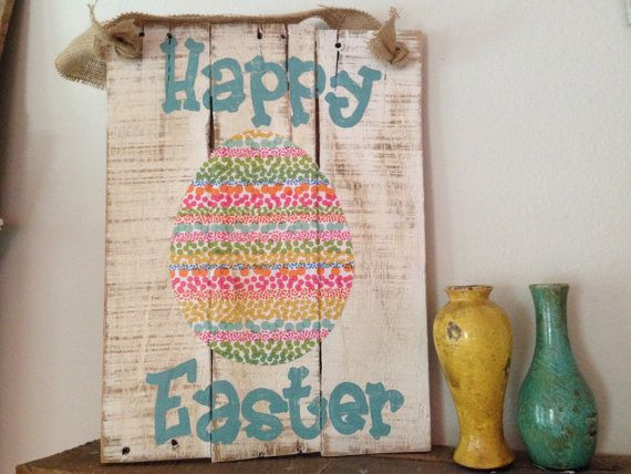 Happy Easter Pallet Wood Sign by NCRDesign on Etsy, $35.00