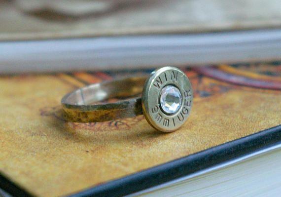 Hammered Brass 9mm Bullet Size 5 1/4 Ring Clear Swarovski
