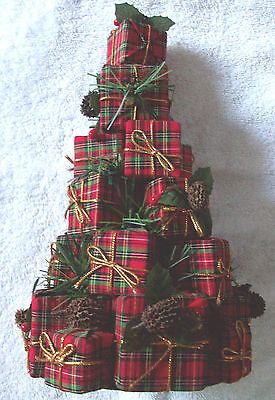 Details about Red Plaid present Christmas Tree Holiday decor decoration