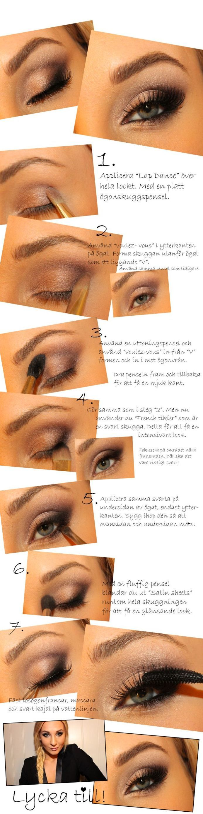 Too Faced Boudoir Eyes Palette Tutorial | In another language, but the diagrams and color names make it usable.