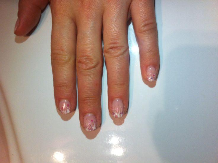 """Pink """"sea"""" nail art"""