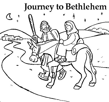 mary joseph coloring pages | Mary and Joseph Journey to Bethlehem Coloring Page ...