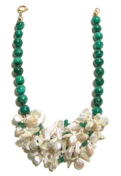 Helga Wagner Malachite beads with coin and stick Fresh Water Pearls and Malachite chips.