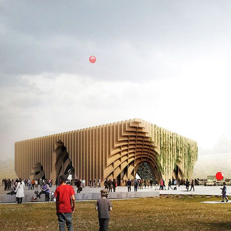 Vegetables, herbs and hops will be planted between the latticed timber structure of the pavilion representing France at the World Expo 2015