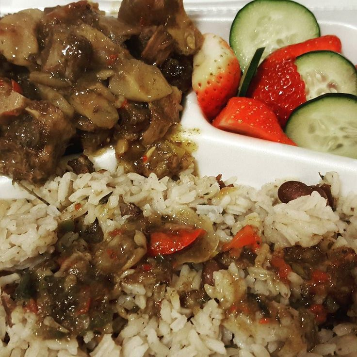 oxtail and rice and peas with cucumber strawberry salad