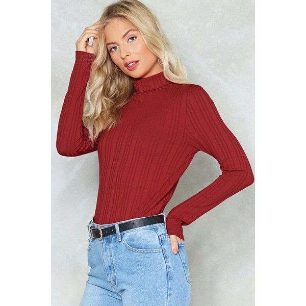 Nasty Gal On Rib-Peat Turtleneck Top ($24) ❤ liked on Polyvore featuring tops, sweaters, paprika, ribbed turtleneck sweaters, ribbed knit top, turtle neck sweater, red turtleneck and polo neck sweater