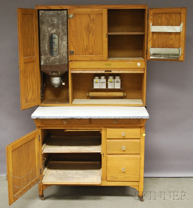 Sellers Oak Tambour Hoosier Cabinet From Sellers Kitchen Cabinet Parts