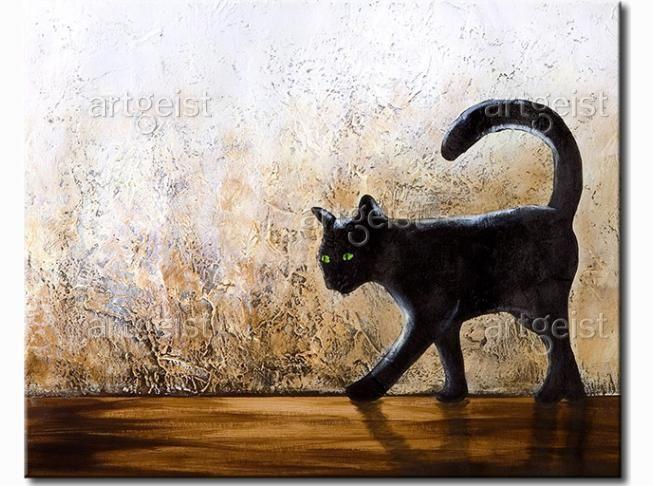 Cuadro decorativo Gato negro de ojos verdes #cuadro #cuadros #fotos sobre lienzo #fotos #sobre #lienzo #gato