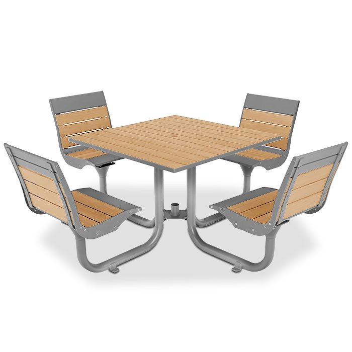 Beacon Hill Recycled Plastic Table With 4 Contour Seats | Picnic Tables |  Upbeat.com