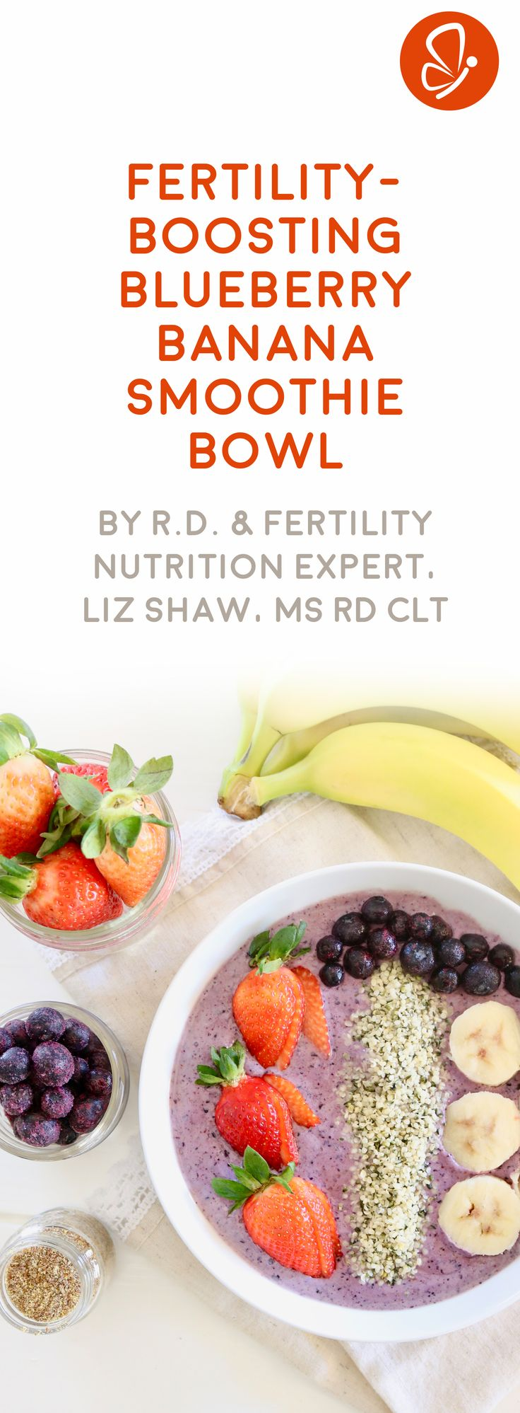Boost your fertility naturally with this delicious Blueberry Banana smoothie bowl recipe  – from Liz Shaw of @bumps2baby. Click to view recipe!